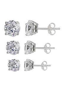 Belk Silverworks Set of 3 Graduated Size Round Cubic Zirconia Stud Earrings