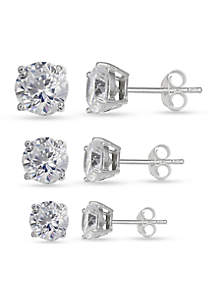Simply Sterling Silver Trio Cubic Zirconia Round Stud Earring Set