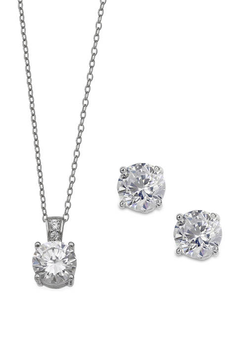 Sterling Silver Round Cubic Zirconia Necklace and Stud Earring Set