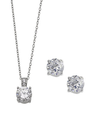Sterling Silver Traditional Simple Formal  CZ Sapphire Pendant Necklace