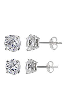 Simply Sterling Duo Set Cubic Zirconia Stud Earrings