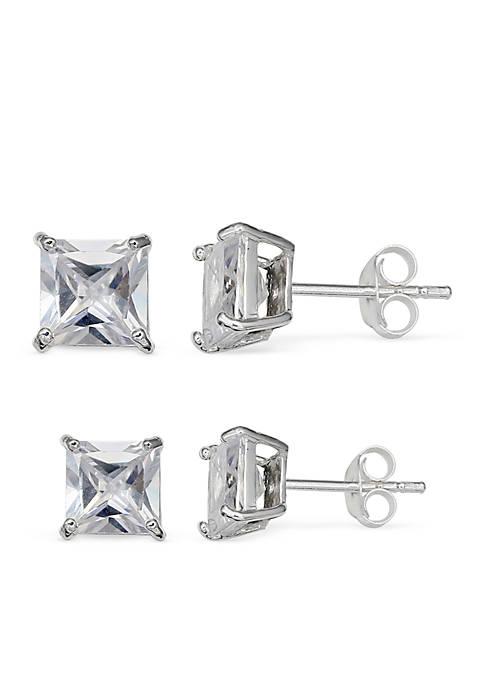 Belk Silverworks Simply Sterling Silver Duo Princess Cubic