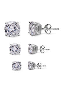 Simply Sterling Silver Trio Round Cubic Zirconia Stud Earrings