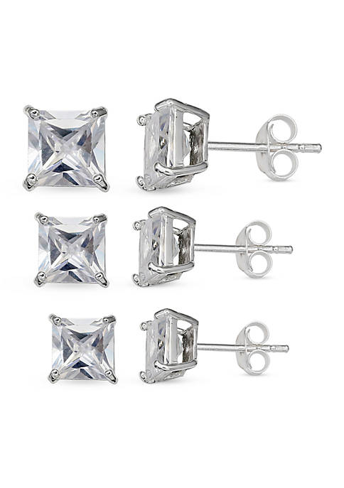 Belk Silverworks Simply Sterling Silver Trio Princess Cut