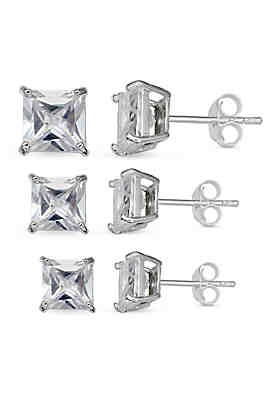 928048a79 Belk Silverworks Simply Sterling Silver Trio Princess Cut Cubic Zirconia  Stud Earrings Set ...