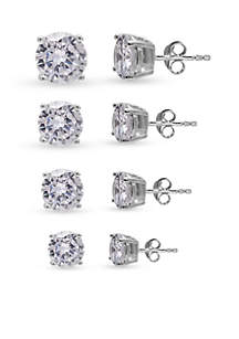 Silver-Tone Cz Round Earring Set