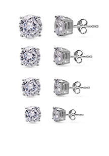Simply Sterling Silver Set of 4 Round Cubic Zirconia Stud Earrings
