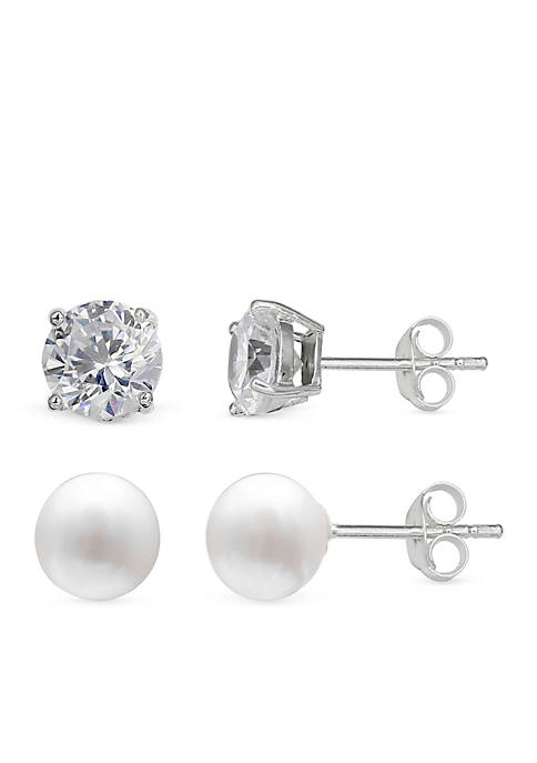 Simply Sterling Silver Duo Pearl & Cubic Zirconia Stud Earring Set