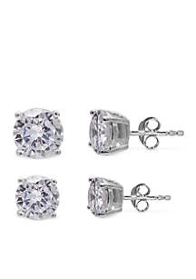 Simply Sterling Silver Duo Round Cubic Zirconia Stud Earring Set