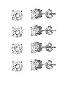 Set of 4 Simply Sterling Silver Cubic Zirconia Stud Earrings