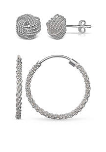 Simply Sterling Silver Duo Love Knot and Hoop Earring Set