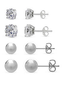 Simply Sterling Silver Set of 4 Round Cubic Zirconia & Ball Stud Earrings