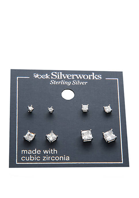 Belk Silverworks Sterling Silver 4 Pair Princess Cut