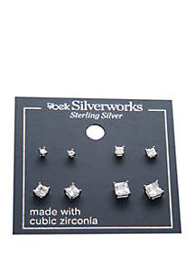 Sterling Silver 4 Pair Princess Cut Cubic Zirconia Earring Set