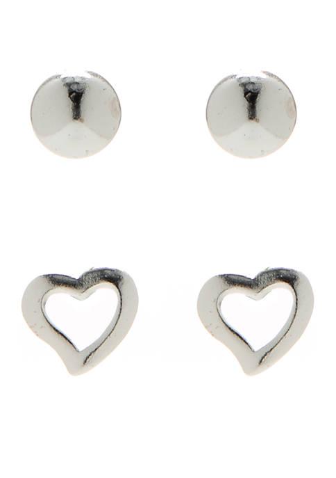 Belk Silverworks Sterling Silver Duo Heart Stud Earring