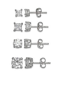 Sterling Silver Cubic Zirconia Stud Earrings Set