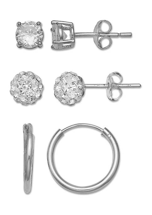 7/8 ct. t.w. Cubic Zirconia Round and Princess Stud and Hoop Earrings in Sterling Silver - Set of 3