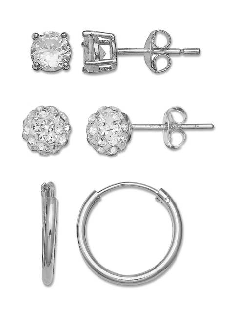 Belk Silverworks Sterling Trio Fireball Huggie Earrings Set