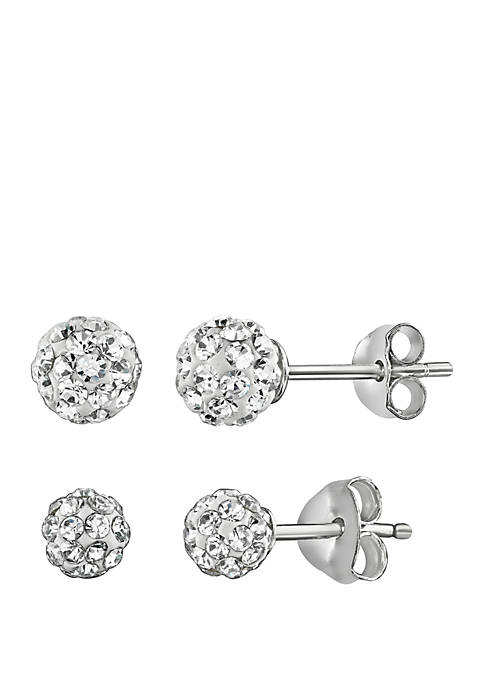 2 Pair Fireball Crystal Earring Set