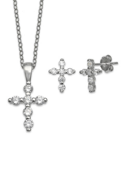Belk Silverworks Sterling Silver Cubic Zirconia Cross Necklace