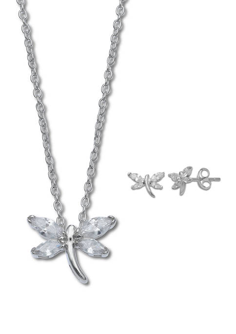 Sterling Silver Dragonfly Necklace and Stud Earring Set