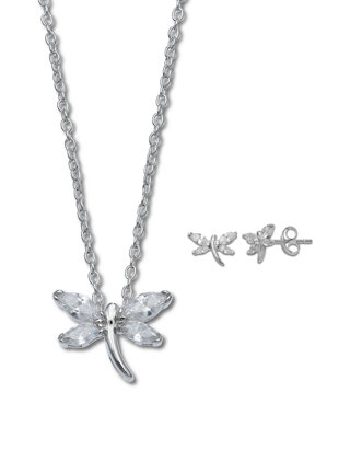 Young Girls Silver Dragonfly Necklace With Pink Sapphire 14 to 16 inches