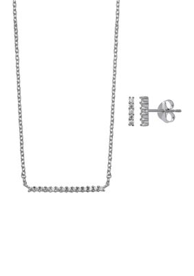 Belk Silverworks Women Sterling Silver Pave Cubic Zirconia Bar Necklace And Stud Earring Set