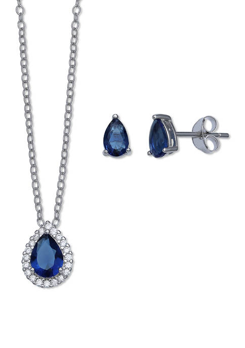 Sterling Teardrop Clear Cubic Zirconia Necklace and Stud Set