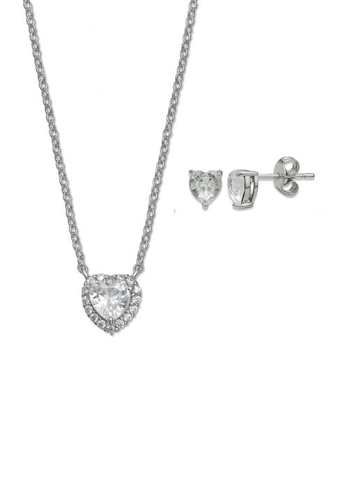 Sterling Silver Pavé Heart Cubic Zirconia Necklace and Stud Earrings Set