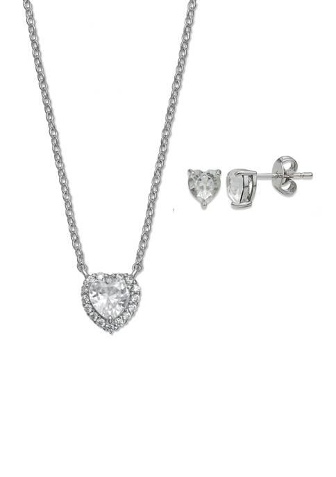 Belk Silverworks Sterling Silver Pavé Heart Cubic Zirconia