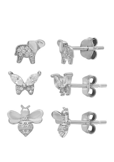 Belk Silverworks Cubic Zirconia Elephant, Butterfly and Bee