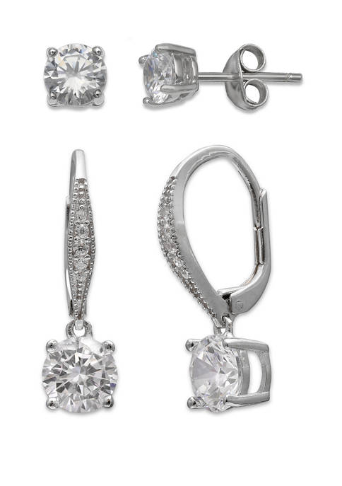 Belk Silverworks Cubic Zirconia Earrings Set