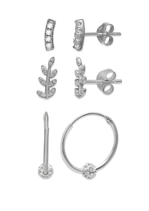 Belk Silverworks Cubic Zirconia Crystal Fireball Earrings Set