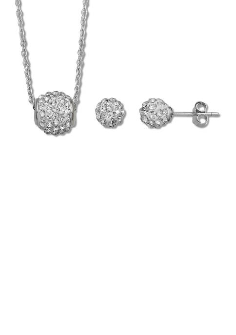 Belk Silverworks Crystal Fireball Stud and Necklace Set