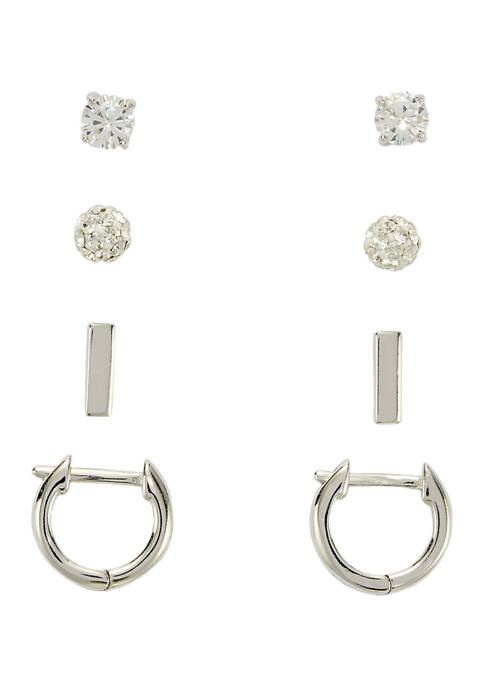 Cubic Zirconia Fireball Bar Stud Earrings Set