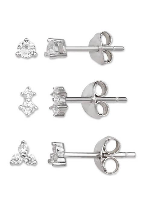 Belk Silverworks Round Cubic Zirconia Earrings Set
