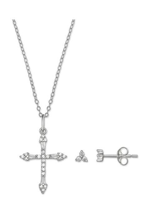 Belk Silverworks Cubic Zirconia Cross Necklace and Earrings