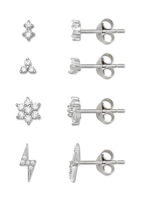 Belk Silverworks Cubic Zirconia Flower Bolt Stud Earrings