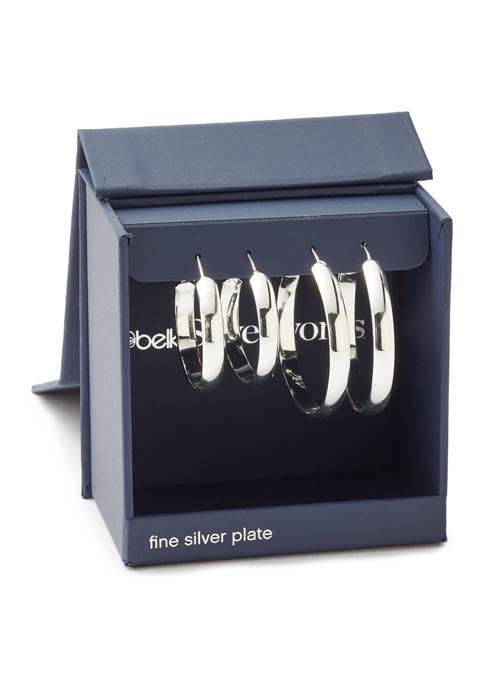 Belk Silverworks Hoop Earring Set