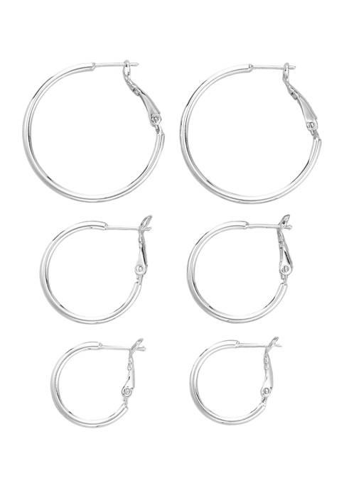 Belk Silverworks Hinge Post Hoop Earring Set