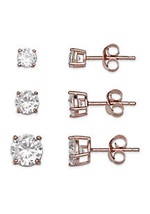Set of 3 Rose Gold-Toned Cubic Zirconia Stud Earrings in Sterling Silver