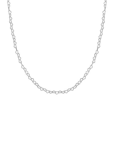 Silver-Tone 35 Gauge Heart Link Necklace