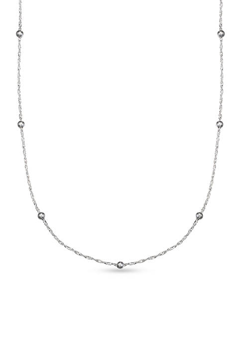 Sterling Silver Polished Singapore Bead 18 in Chain Necklace