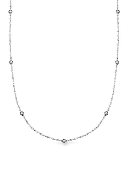 Sterling Silver Polished Singapore Beaded 24-in. Chain Necklace