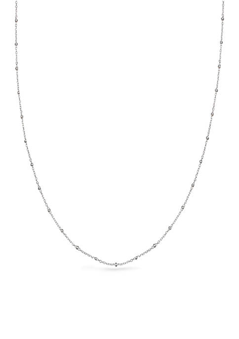 Sterling Silver Forzatina Polished Cable Beaded 24-in. Chain Necklace