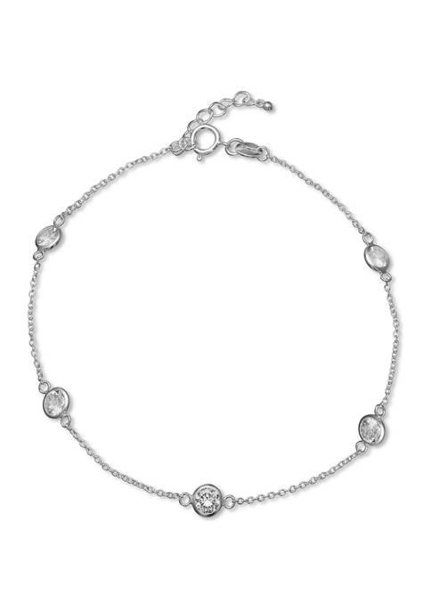 Belk Silverworks Silver-Tone Cubic Zirconia Chain Anklet