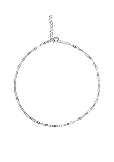 Belk Silverworks Simply Sterling Silver Squared Anklet Bracelet
