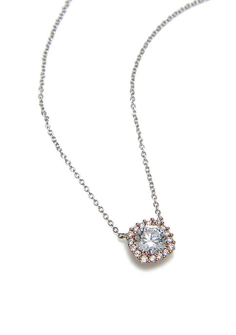 Sterling Silver Square Cubic Zirconia Necklace
