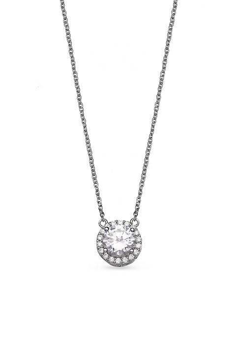 Belk Silverworks Round Pave Cubic Zirconia Necklace