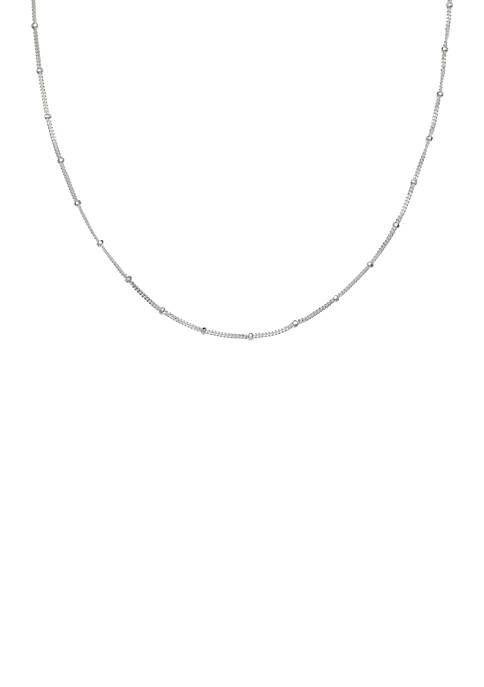 Belk Silverworks Silver-Tone Polished Bead Stone Chain Necklace